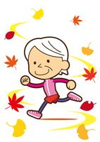 スポーツの秋 爽やかに走るお婆ちゃん