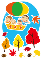 秋 気球で空の旅を楽しむ家族