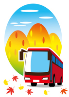 秋 バスで観光