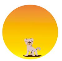 日の出と犬