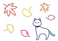秋の彩り 白猫