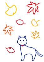 白猫 秋の彩り