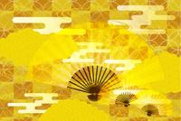 金と扇子の和柄背景素材