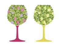 ブドウ柄の赤ワインと白ワイン