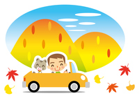 秋の彩り 猫とドライブを楽しむ男性