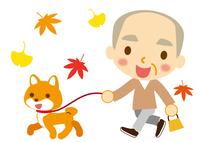 秋 ワンちゃんとお爺ちゃん