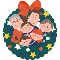 クリスマスリースと家族