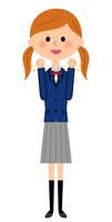 ガッツポーズをする女子高生