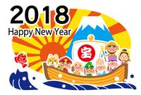 2018 ハッピーニューイヤー 七福神の宝船 テンプレート