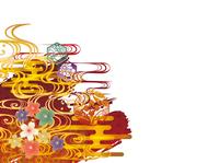 金の波と和柄背景素材