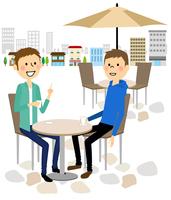 カフェでおしゃべりする男性達