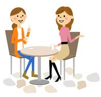 カフェでおしゃべりする女性達