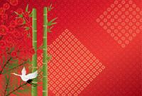 松竹梅の和風背景(はがきサイズ)