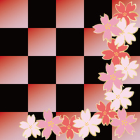 Cherry blossoms and checkered pattern