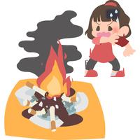 火事に気付く女性