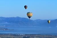 滋賀県 空撮 琵琶湖横断熱気球大会