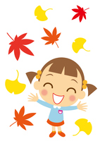 秋の彩りを喜ぶ女の子