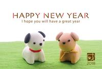 2018年戌年 犬の年賀状テンプレート写真