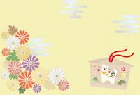 戌の絵馬と菊の年賀イメージ