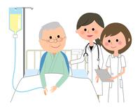 白衣の女性 看護師 入院患者
