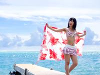 桟橋と海に向かってパレオを広げるビキニの若い女性