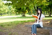 木陰で本を読む若い女性