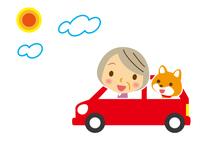 ドライブ ワンちゃんとお婆ちゃん