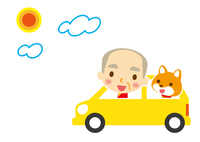 ドライブ ワンちゃんとお爺ちゃん