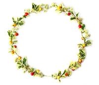 ヒイラギの葉とクマタケランの実とツルソバの花のクリスマスリース