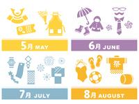 5月~8月春夏イベント アイコン素材セット