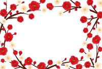 紅梅と白梅のフレーム素材(はがきサイズ)