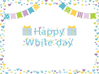 ホワイトデー ハートのフレーム素材