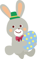 イースターエッグをかかえるウサギのイラスト