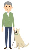 シニア男性 おじいちゃん 愛犬