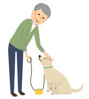 シニア男性 おじいちゃん 犬の散歩