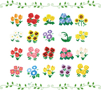 季節の花のイラストセット アイコン素材
