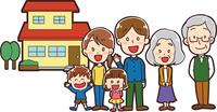 マイホームと三世帯家族のイラスト