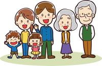 三世代家族のイラスト素材