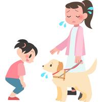 盲導犬に話しかけられて困る女性