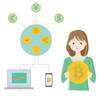 仮想通貨とリアル通貨の関係図とビットコインのロゴを持つ女性