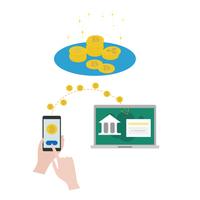 仮想通貨で銀行に送金する図