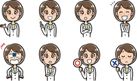 女医の表情パターンイラスト素材