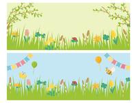 春の草花 草原の風景 バナー素材セット