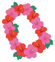 ハイビスカスの花飾りのイラスト素材