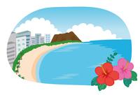 ハワイのビーチ、ダイアモンドヘッドのイラスト素材