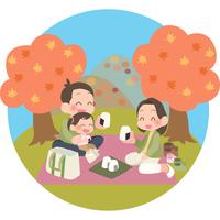 紅葉狩りを楽しむ家族