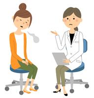 白衣の女性 問診 診察 ため息