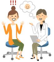 白衣の女性 問診 診察 妊娠
