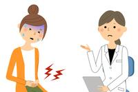 白衣の女性 問診 診察 痛い