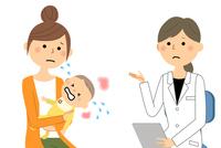 白衣の女性 問診 診察 赤ちゃん